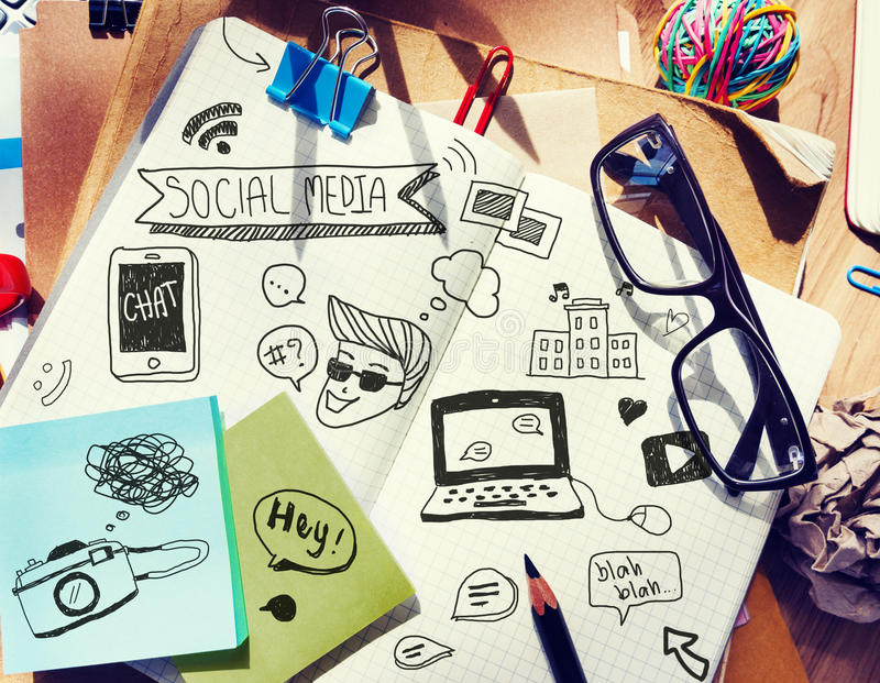 Office Desk with Tools and Notes About Social Media royalty free stock photos