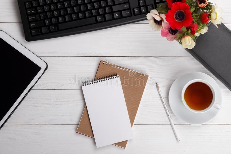 Office desk top stock photography