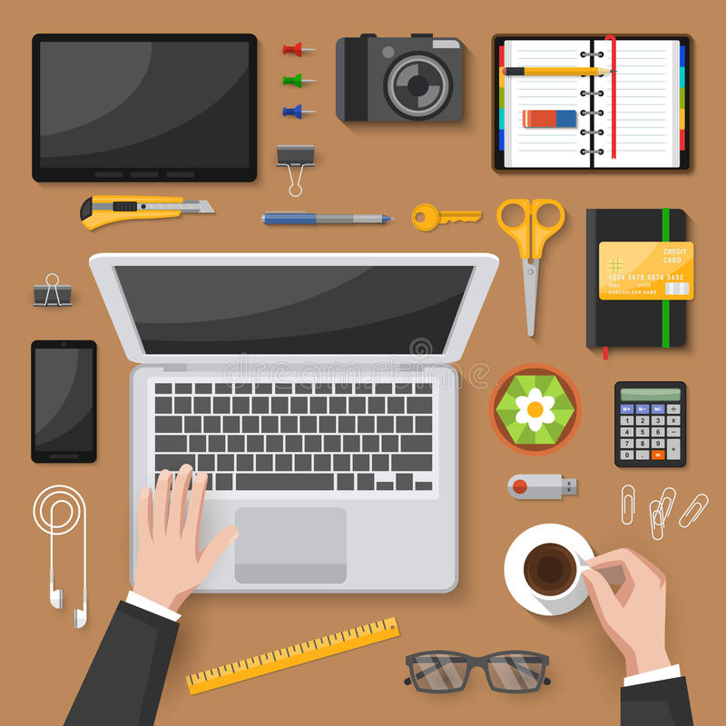 Download Office Desk Top View Design Stock Vector   Illustration Of Coffee,  Print: 73344942