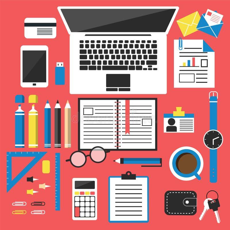 Office desk top view vector illustration