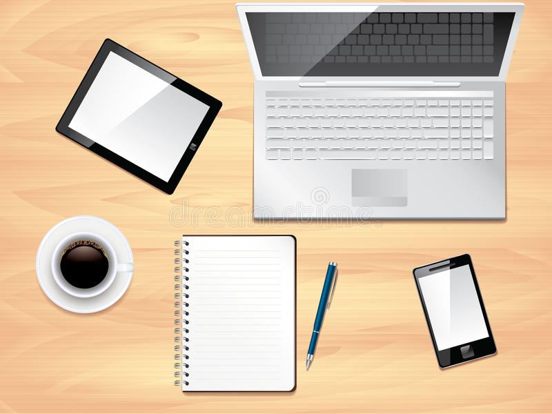Download Office Desk Top View, Photo Realistic Stock Vector - Image: 33479474