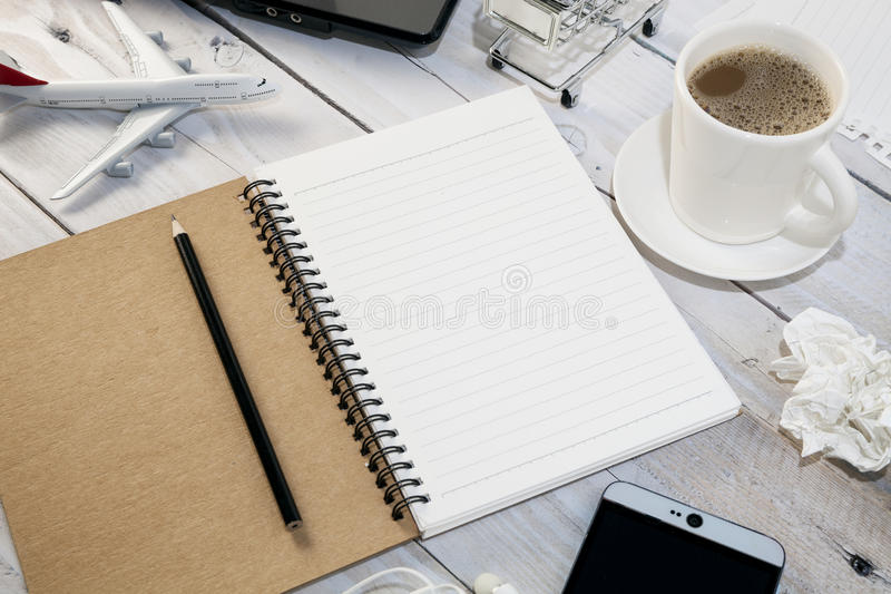 Office desk white wood table of Business workplace and business. Objects,with copy space for your text stock photo
