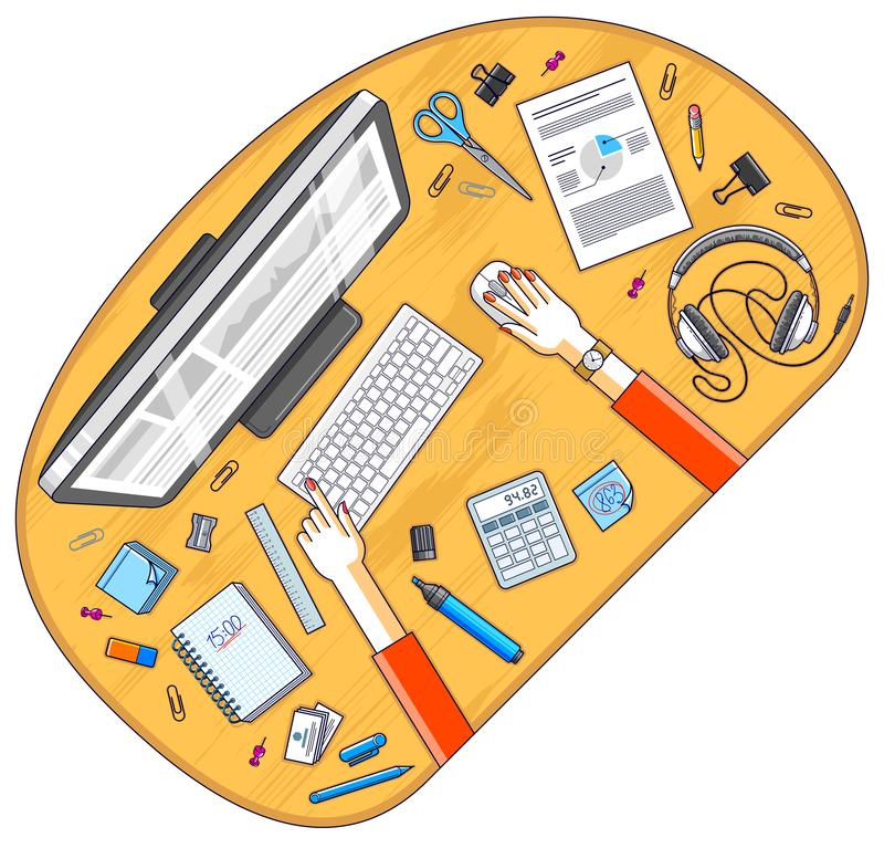 Office desk workspace top view with hands of office employee or entrepreneur, PC computer and diverse stationery objects for work. Office desk workspace top view stock illustration