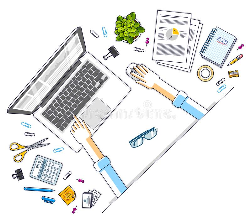 Office desk workspace top view with hands of office employee or entrepreneur, laptop computer and diverse stationery objects for vector illustration