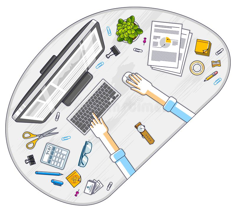Office desk workspace top view with hands of office employee or entrepreneur, PC computer and diverse stationery objects for work vector illustration