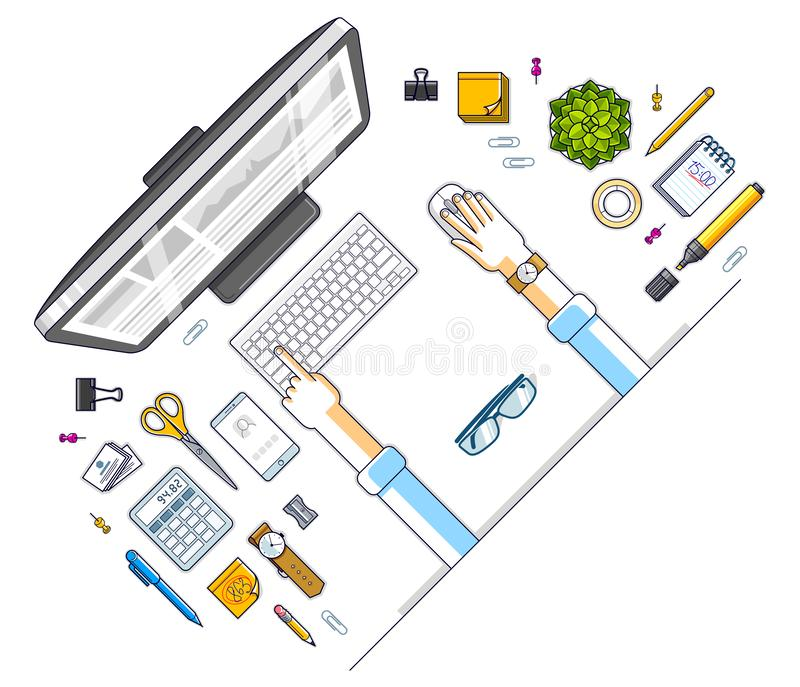 Office desk workspace top view with hands of office employee or entrepreneur and diverse stationery objects for work vector illustration