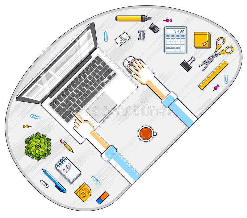 Office desk workspace top view with hands of office employee or entrepreneur, PC notebook and diverse stationery objects for work. All elements are easy to use stock illustration