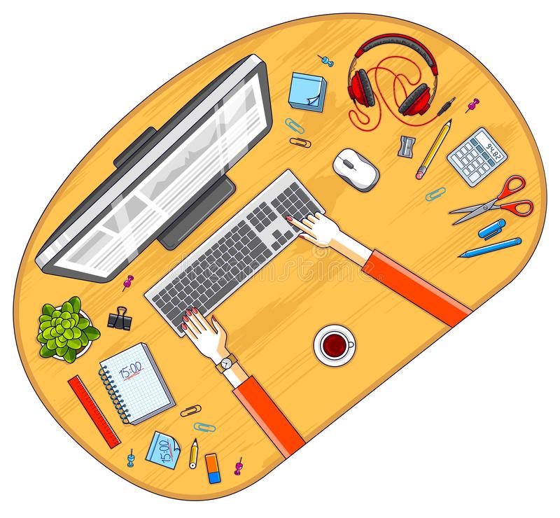 Office desk workspace top view with hands of office employee or. Entrepreneur, PC computer and diverse stationery objects for work. All elements are easy to use vector illustration