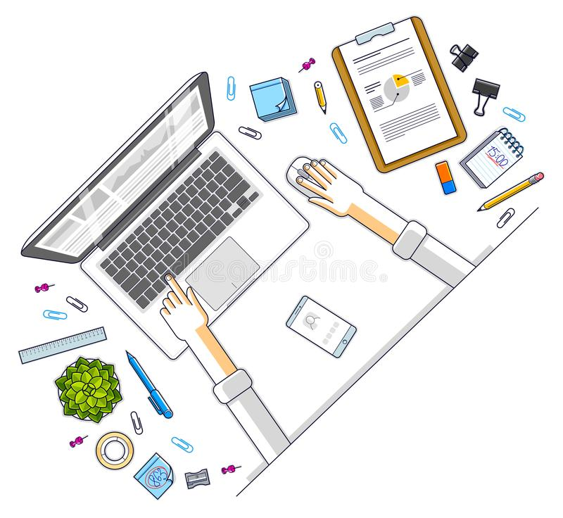 Office desk workspace top view with hands of office employee or. Entrepreneur, laptop computer and diverse stationery objects for work. All elements are easy to vector illustration