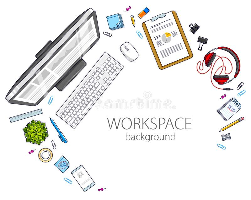 Office desk workspace top view with PC computer and diverse stat stock illustration