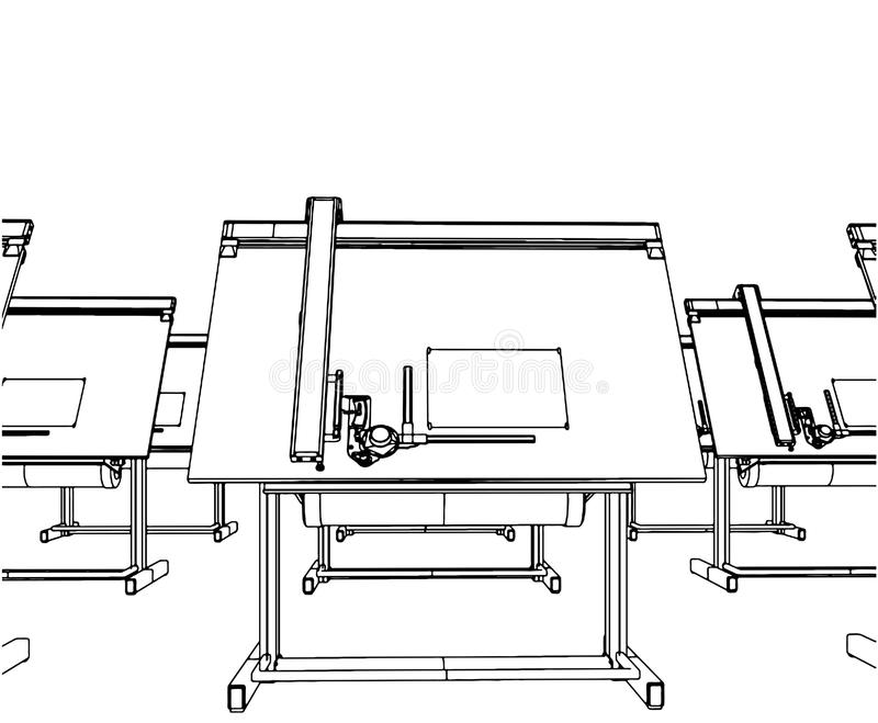 Office Desks For Drawing Vector 04. Office Desks For Drawing Isolated Illustration Vector