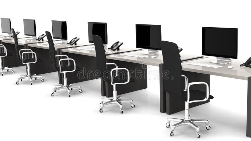 Office desks with equipment and black chairs royalty free illustration