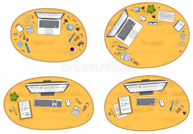 Office desks workspaces top view with PC and laptops and divers stock illustration