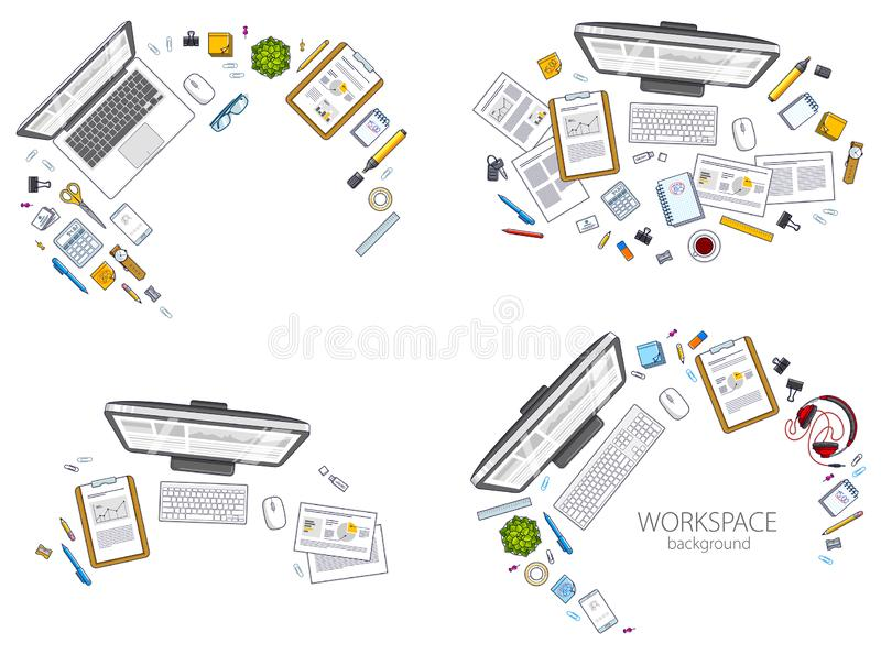 Office desks workspaces top view with PC and laptops  and diverse stationery objects for work, overhead look. All elements are stock illustration