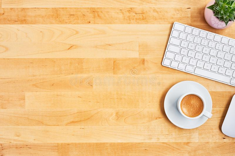 Office desktop concept with coffee and computer royalty free stock images