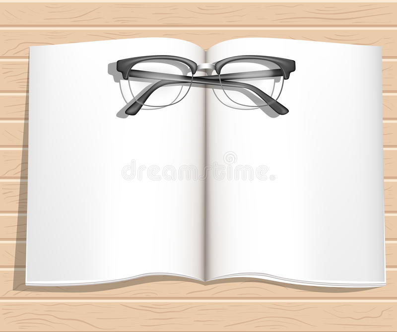 Office desktop with notebooks glasses top view. Wood background. Web site page and mobile app design stock illustration