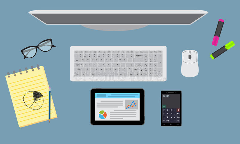 Office desktop organzation with stationary, monitor, tablet. Top view. royalty free illustration