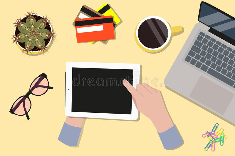 Office desktop top view. Hands using a digital touch screen tablet royalty free illustration