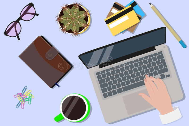 Office desktop top view. Hands using a laptop royalty free illustration