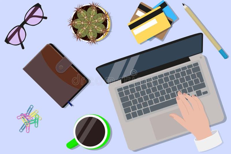 Office desktop top view royalty free illustration