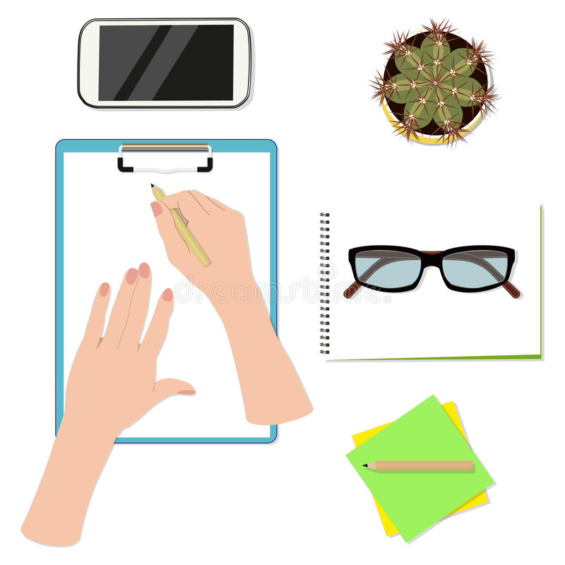 Office desktop top view. Hands writing on paper stock illustration