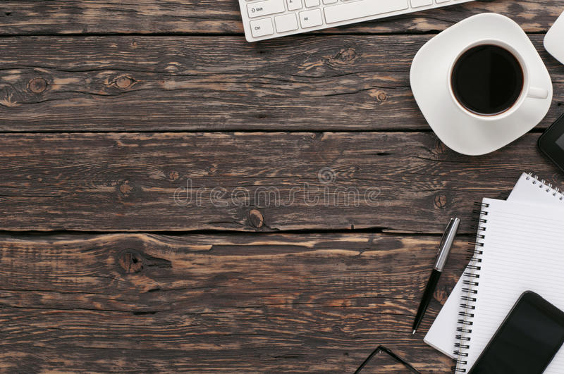 Office desktop top view royalty free stock photos