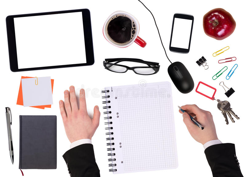 Office desktop with various objects stock images