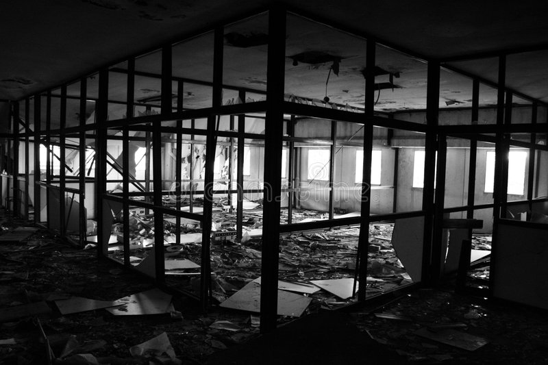 Office destroyed by fire. An office of an old Industry destroyed by fire in black and white. That office didtn't have security permissions stock images