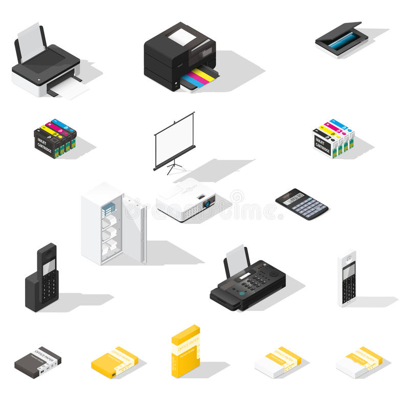 Office detailed isometric icon set vector illustration