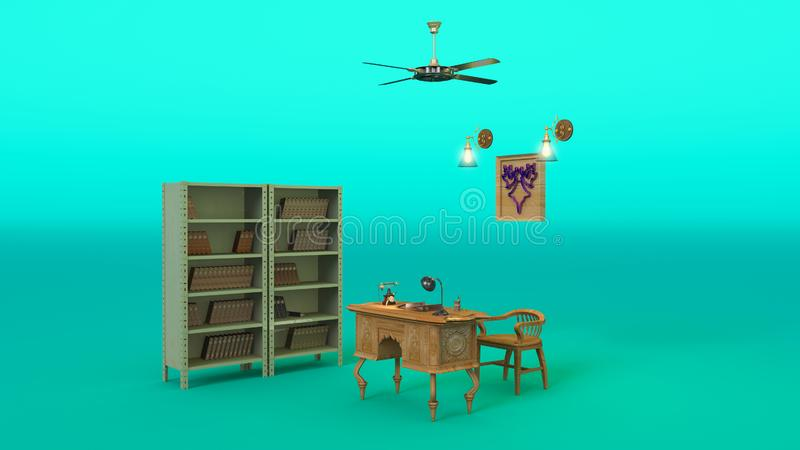 Office with director`s desk, vintage phone, file cabinet and other retro items, 3D RENDER vector illustration