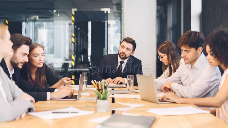Office discussion. Business corporate meeting of young team royalty free stock images