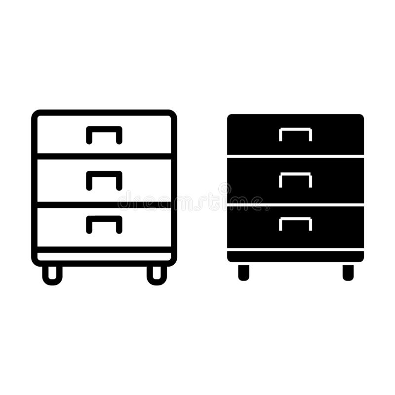 Office drawer line and glyph icon. Storage vector illustration isolated on white. Cabinet outline style design, designed. For web and app. Eps 10 stock illustration