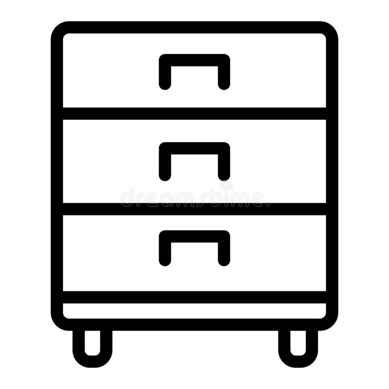 Office drawer line icon. Storage vector illustration isolated on white. Cabinet outline style design, designed for web. And app. Eps 10 stock illustration