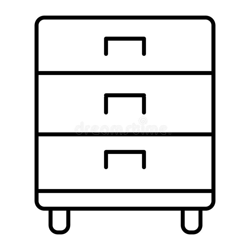 Office drawer thin line icon. Storage vector illustration isolated on white. Cabinet outline style design, designed for. Web and app. Eps 10 royalty free illustration