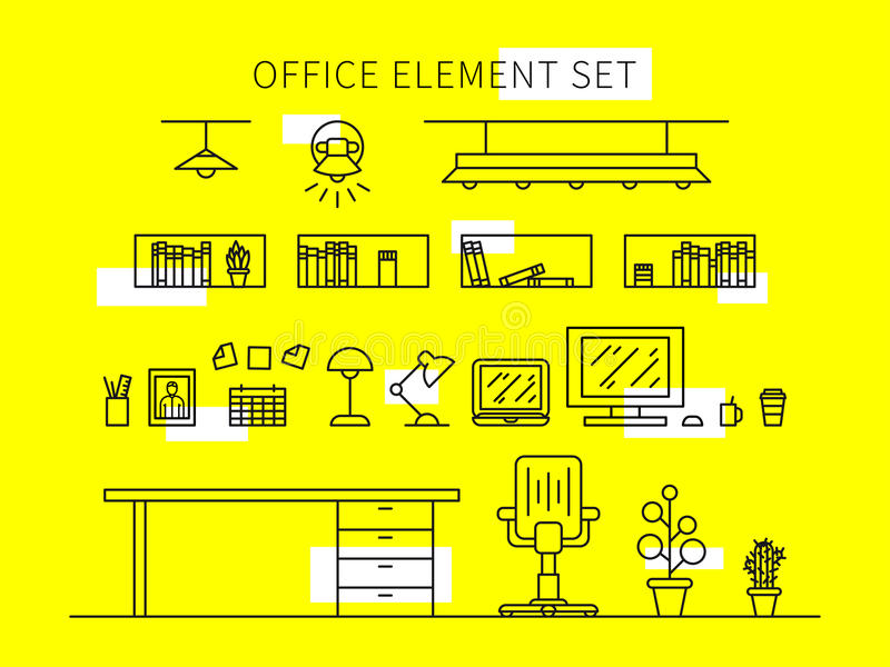Office element set vector illustration. Office tools collection. Office equipment furniture, lamp, computer creative concept