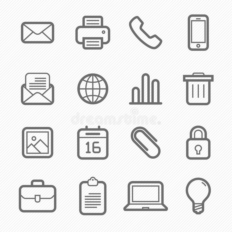 Office elements symbol line icon set vector illustration