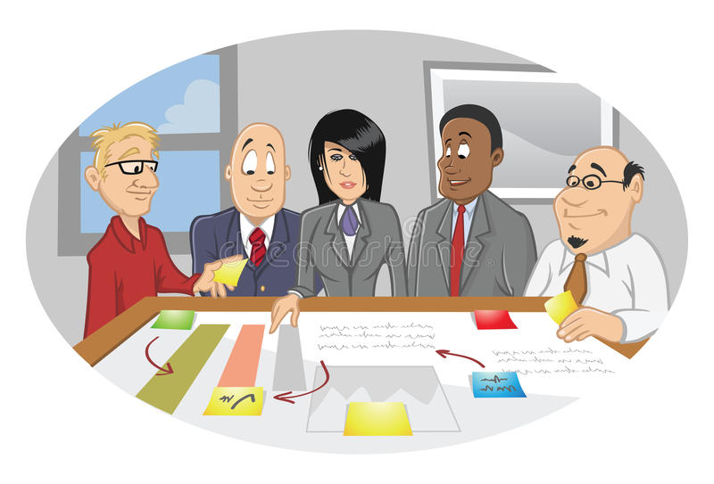 Office employee brainstorming session. Cartoon illustration of an office employee brainstorming session vector illustration