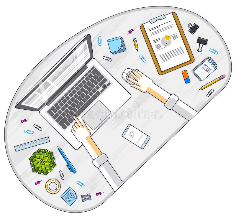 Office employee or entrepreneur work desk workplace with hands and laptop computer and diverse stationery objects for work, top vector illustration