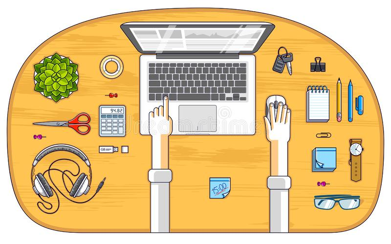 Office employee or entrepreneur work desk workplace with hands and PC notebook and diverse stationery objects for work, top view. royalty free illustration