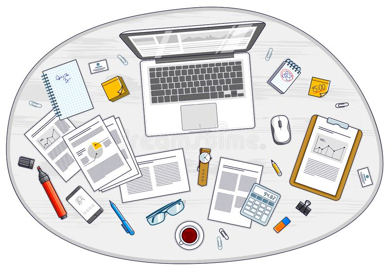 Office employee or entrepreneur work desk workplace with laptop computer and analytics papers with graphs and data and stationery royalty free illustration