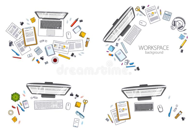Office employee or entrepreneur work desks workplaces with PC an vector illustration