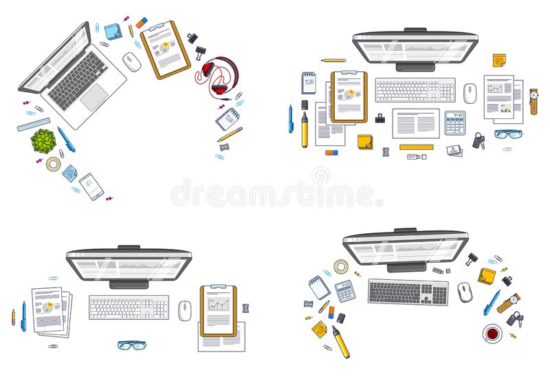 Office employee or entrepreneur work desks workplaces with PC and laptops and diverse stationery objects for work and analytics vector illustration