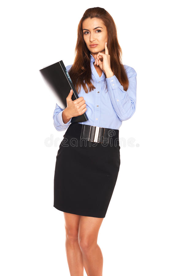 Office employee on a white background. Office pretty employee on a white background stock images