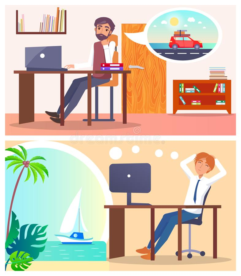 Office Employees Dream About Voyage or Road Trip royalty free illustration
