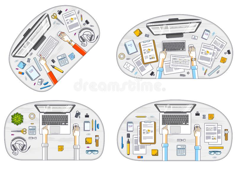Office employees or entrepreneurs work desks workplaces with hands and PC computers and diverse stationery objects for work, top vector illustration