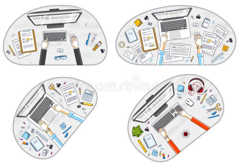 Office employees or entrepreneurs work desks workplaces with hands and PC computers and diverse stationery objects for work, top stock illustration