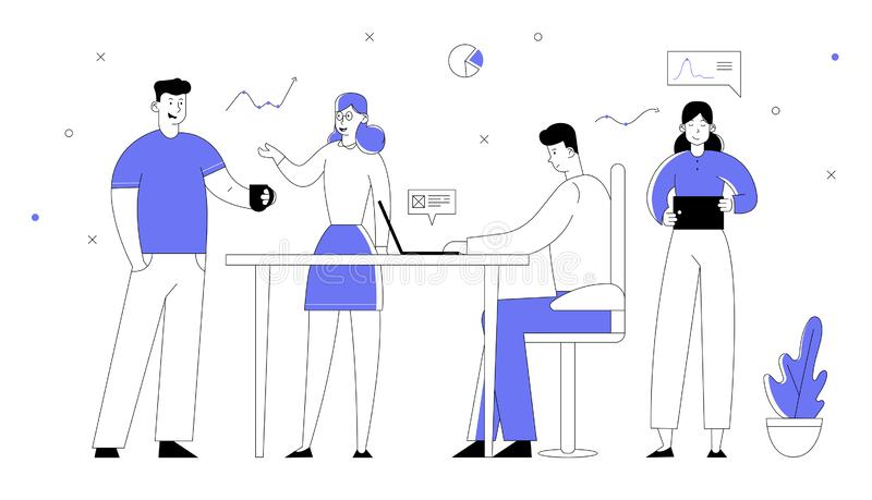 Office Employees Working Process. Businessmen and Businesswomen Managers Team Developing Creative Project stock illustration