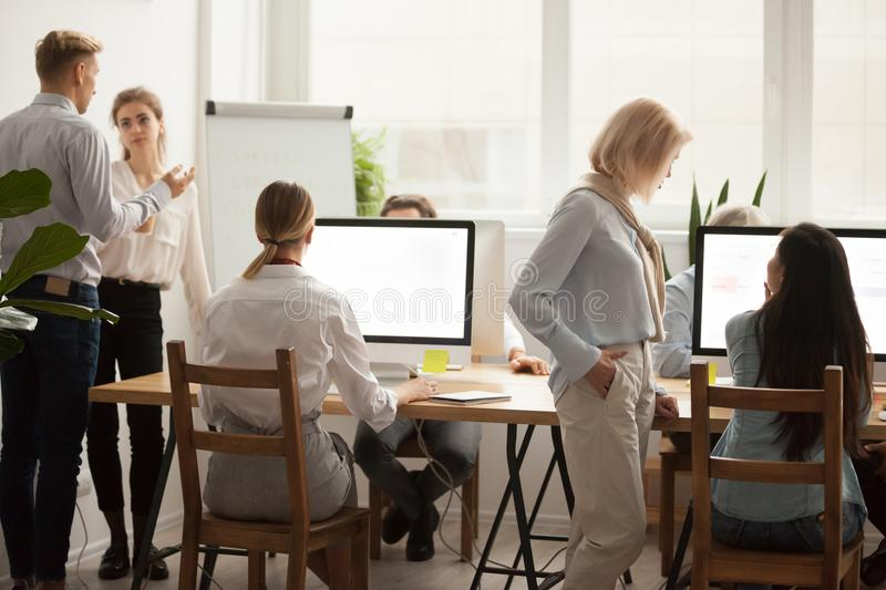 Office employees working together, businesspeople group teamwork royalty free stock photos