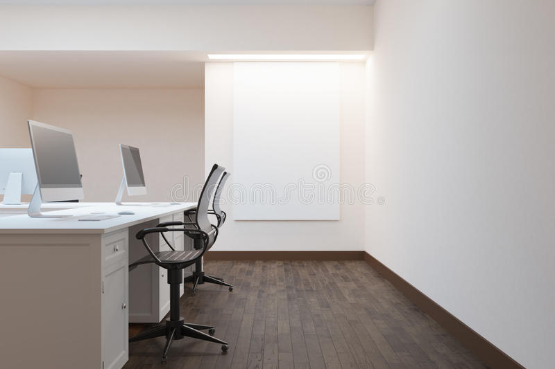 Office with empty poster. Side view of modern office interior with empty poster. Mock up, 3D Rendering royalty free illustration