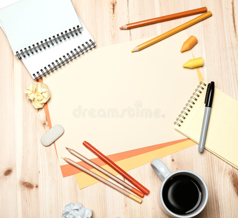 Office equipment with coffee royalty free stock photos